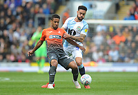 Swansea City's Wayne Routledge under pressure from Blackburn Rovers' Derrick Williams<br /> <br /> Photographer Kevin Barnes/CameraSport<br /> <br /> The EFL Sky Bet Championship - Blackburn Rovers v Swansea City - Sunday 5th May 2019 - Ewood Park - Blackburn<br /> <br /> World Copyright © 2019 CameraSport. All rights reserved. 43 Linden Ave. Countesthorpe. Leicester. England. LE8 5PG - Tel: +44 (0) 116 277 4147 - admin@camerasport.com - www.camerasport.com