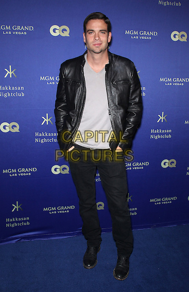 Mark Salling.At Hakkasan Las Vegas  and GQ Magazine present an all-star red carpet affair to celebrate the nightclub's Grand Opening at MGM Grand Hotel & Casino, Las Vegas, NV, USA, 27th April 2013..full length black leather jacket hands in pockets .CAP/ADM/MJT.© MJT/AdMedia/Capital Pictures