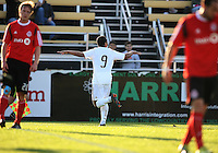 Charlie Davies#9 of D.C. United after scoring the first goal during the final round of the Carolina Challenge Cup against Toronto FC on March 12 2011 at Blackbaud Stadium in Charleston, South Carolina. D.C. The game ended in a 2-2 tie which was sufficient for D.C. United to win the tournament.