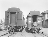 End view of parlor car with Shavano drum head at Alamosa depot beside standard gauge baggage car.<br /> D&amp;RGW  Alamosa, CO  Taken by Peyton, Ernie S. - 9/1949