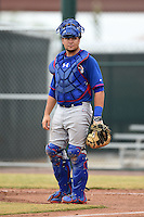 Chicago Cubs catcher Kyle Schwarber (9) during an Instructional League intersquad game on October 9, 2014 at Cubs Park Complex in Mesa, Arizona.  (Mike Janes/Four Seam Images)