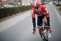 eventual winner Jens Debusschere (BEL/Lotto-Soudal) bridging over to the leading peloton with about 15km to go<br /> <br /> 71st Dwars door Vlaanderen (1.HC)