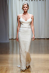 Model walks runway in a Niki gown from the Casablanca Bridal collection at the Casablanca Bridal 20th anniversary celebration runway show, on October 8, 2017; during New York Bridal Fashion Week Spring 2018.