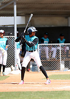Cristian Hernandez participates in an international showcase hosted by JDB Baseball at the Quality Baseball Academy on February 20, 2018 in Santo Domingo, Dominican Republic (Bill Mitchell)