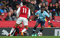 Blackpool U18's Nana Adarkwa competing with Arsenal U18's Xavier Amaechi<br /> <br /> Photographer Andrew Kearns/CameraSport<br /> <br /> Emirates FA Youth Cup Semi- Final Second Leg - Arsenal U18 v Blackpool U18 - Monday 16th April 2018 - Emirates Stadium - London<br />  <br /> World Copyright &copy; 2018 CameraSport. All rights reserved. 43 Linden Ave. Countesthorpe. Leicester. England. LE8 5PG - Tel: +44 (0) 116 277 4147 - admin@camerasport.com - www.camerasport.com
