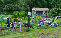 Children at Yarmouth Community garden camp, Maine, USA
