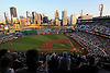 PNC Park, home of the Pittsburgh Pirates, plays host to a Major League Baseball game between the Pirates and visiting St. Louis Cardinals the night of August 26, 2014. (Photo by James Escher)