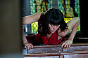 """""""Too Mortal"""", a site-specific piece choreographed by Shobana Jeyasingh, has its London premiere at St. Mary's Old Church, Clissold Park, Stoke Newington, as part of the London 2012 Festival. The dancers are: Vanessa Abreu, Alejandra Lucrecia Bano Pelegrin, Avatara Ayuso, Noora Kela, Audrey Rogero and Emily Absalom.  Photo credit: Jane Hobson."""