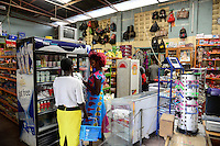 KENYA Turkana, Lodwar, small supermarket selling food items and other goods for the daily demand / KENIA, kleiner Supermarkt, Kasse