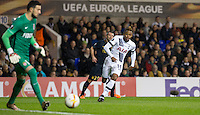 Clinton N'Jie of Tottenham Hotspur closes down the keeper during the UEFA Europa League group match between Tottenham Hotspur and Monaco at White Hart Lane, London, England on 10 December 2015. Photo by Andy Rowland.