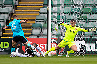 Fleetwood Town's goalkeeper Alex Cairns and Ashley Eastham combine to deny Plymouth Argyle's Nathan Blissett a scoring opportunity<br /> <br /> Photographer Andrew Kearns/CameraSport<br /> <br /> The EFL Sky Bet League One - Plymouth Argyle v Fleetwood Town - Saturday 7th October 2017 - Home Park - Plymouth<br /> <br /> World Copyright &copy; 2017 CameraSport. All rights reserved. 43 Linden Ave. Countesthorpe. Leicester. England. LE8 5PG - Tel: +44 (0) 116 277 4147 - admin@camerasport.com - www.camerasport.com