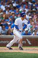 Chicago Cubs first baseman Anthony Rizzo (44) at bat during a game against the Milwaukee Brewers on August 13, 2015 at Wrigley Field in Chicago, Illinois.  Chicago defeated Milwaukee 9-2.  (Mike Janes/Four Seam Images)
