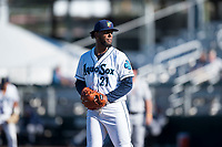 Everett AquaSox starting pitcher Elias Espino (21) gets ready to deliver a pitch during a Northwest League game against the Tri-City Dust Devils at Everett Memorial Stadium on September 3, 2018 in Everett, Washington. The Everett AquaSox defeated the Tri-City Dust Devils by a score of 8-3. (Zachary Lucy/Four Seam Images)