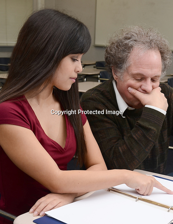 Student and teacher stock photo