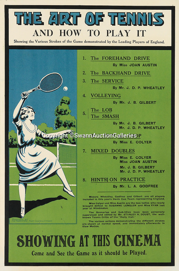 BNPS.co.uk (01202 558833)<br /> Pic: SwannAuctionGalleries/BNPS<br /> <br /> ***Please Use Full Byline***<br /> <br /> The Art of Tennis / And How to Play it (1920), unknown designer, estimated at $400 - $600. <br /> <br /> <br /> The world's largest collection of vintage tennis posters spanning a century of the sport has emerged for sale for a staggering 100,000 pounds.<br /> <br /> The posters date from the late 19th century and advertise everything from famous tennis tournaments to luxury holiday destinations and even cars.<br /> <br /> The earliest poster in the collection comes from 1896 and advertises the Western Lawn Tennis Tournament at the Kenwood Country Club in Chicago.<br /> <br /> The collection was compiled by an Australian poster enthusiast over several decades and is thought to be the largest ever to come to auction.<br /> <br /> The posters will be sold individually for prices ranging between 150 pounds to 12,000 pounds and are collectively tipped to fetch a whopping 100,000 pounds in the Swann Auction Galleries sale.