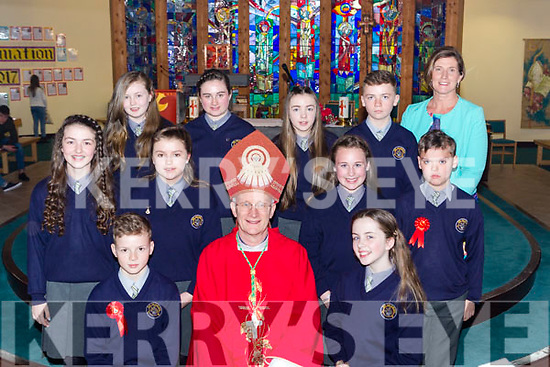 Pupils from Ath na Blath NS  Kilcummin  with Bishop Ray Browne and Principal Tricia O'Shea at their Confirmation in Our Lady of Lourdes church Kilcummin on Tuesday front row l-r: Robbie Mynihan, ilona Sheehan. Middle row: Sarah daly, Ruth Doyle, Ollie Adair-Duggan, Oran Dwyer. Back row: Bridann Crowley, Sophie Bulbalck, Leah McCarthy and Oisin O'Leary