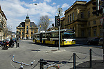 Trolley bus / tram in the town centre of Neuchátel Switzerland.
