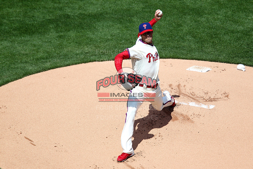 Philadelphia Phillies starting pitcher Cole Hamels #35 during their home opener against the Miami Marlins at Citizens Bank Park on April 9, 2012 in Philadelphia, Pennsylvania.  Miami defeated Philadelphia 6-2.  (Mike Janes/Four Seam Images)