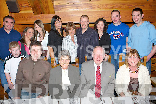 GOLDEN ANNIVERSARY: Congratulations to Brenda & Tim McMahon from Clounalour, Oakpark (seated centre), who celebrated their 50th wedding anniversary with family in The Meadowlands Hotel on Friday night. Seated l-r: Cha McMahon, Brenda & Tim McMahon and Helena Shanahan. Standing l-r: Mike Shanahan, Darragh McMahon, Hazel McMahon, Cli?odhna Shanahan, Amy Shanahan, Helen McMahon, Martin McMahon, Margaret Murphy, David and Iain Shanahan.   Copyright Kerry's Eye 2008