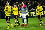 17.12.2017, Signal Iduna Park, Dortmund, GER, 1.FBL, Borussia Dortmund vs TSG 1899 Hoffenheim, <br /> <br /> im Bild | picture shows<br /> vl. Julian Weigl (Borussia Dortmund #33), Raphael Guerreiro (Borussia Dortmund #13), Roman Buerki (Borussia Dortmund #38) und Shinji Kagawa (Borussia Dortmund #23) bedanken sich bei den Fans, <br /> <br /> Foto &copy; nordphoto / Rauch