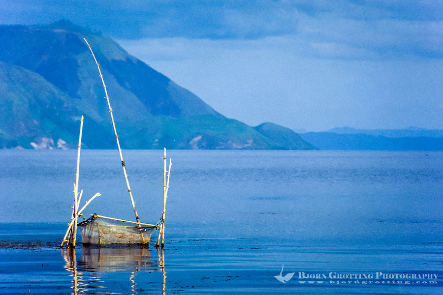 Indonesia, Sumatra. Samosir. Toba landscape from Tuk Tuk, looking south.