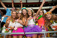 Fans in the grandstand during the 2016 HSBC Wellington Sevens at Westpac Stadium, Wellington, New Zealand on Saturday, 30 January 2016. Photo: Dave Lintott / lintottphoto.co.nz