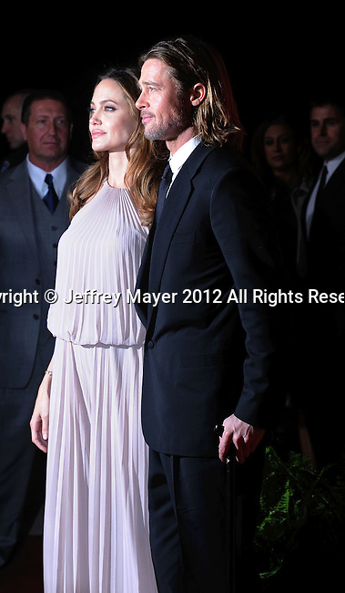 PALM SPRINGS, CA - JANUARY 08: Angelina Jolie and Brad Pitt arrive at the 2012 Palm Springs Film Festival Awards Gala at the Palm Springs Convention Center on January 7, 2012 in Palm Springs, California.