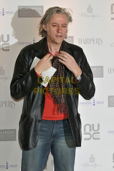 SIR BOB GELDOF.10th Anniversary Party of the Lavender Trust at Breast Cancer Care, .Claridges Hotel, London, England, UK.1st May 2008..half length black leather jacket red top scarf .CAP/PL.©Phil Loftus/Capital Pictures