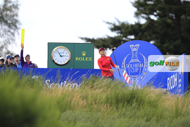 Danielle Kang Team USA on the 8th tee during Day 1 Fourball at the Solheim Cup 2019, Gleneagles Golf CLub, Auchterarder, Perthshire, Scotland. 13/09/2019.<br /> Picture Thos Caffrey / Golffile.ie<br /> <br /> All photo usage must carry mandatory copyright credit (© Golffile   Thos Caffrey)