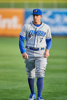 Garin Cecchini (7) of the Omaha Storm Chasers before the game against the Salt Lake Bees in Pacific Coast League action at Smith's Ballpark on May 8, 2017 in Salt Lake City, Utah. Salt Lake defeated Omaha 5-3. (Stephen Smith/Four Seam Images)