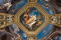 Ceiling fresco depicting Apollo and Muses, Sala delle Muse, Room of the Muses, Vatican Museum, Vatican city, Rome, Italy