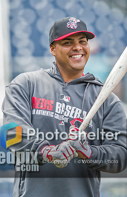 21 May 2014: Cincinnati Reds catcher Brayan Pena awaits his turn in the batting cage prior to a game against the Washington Nationals at Nationals Park in Washington, DC. The Reds edged out the Nationals 2-1 to take the rubber match of their 3-game series. Mandatory Credit: Ed Wolfstein Photo *** RAW (NEF) Image File Available ***