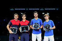 3rd November 2019, AccorHotels Arena, Bercy, Paris, France; Rolex Paris masters Tennis tournament, finals day;  Pierre Hugues Herbert and Nicolas Mahut (Fra) wiiners, with finalists Karen Khachanov and  Andrey Rublev (Rus)