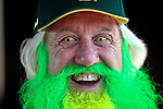 010213--Oregon Ducks fan John Free of Olympia, Washington, wears yellow-colored contact lenses and died his beard florescent green for the Oregon Ducks pep rally at Salt River Fields in  Scottsdale, Arizona. .Photo by Jaime Valdez