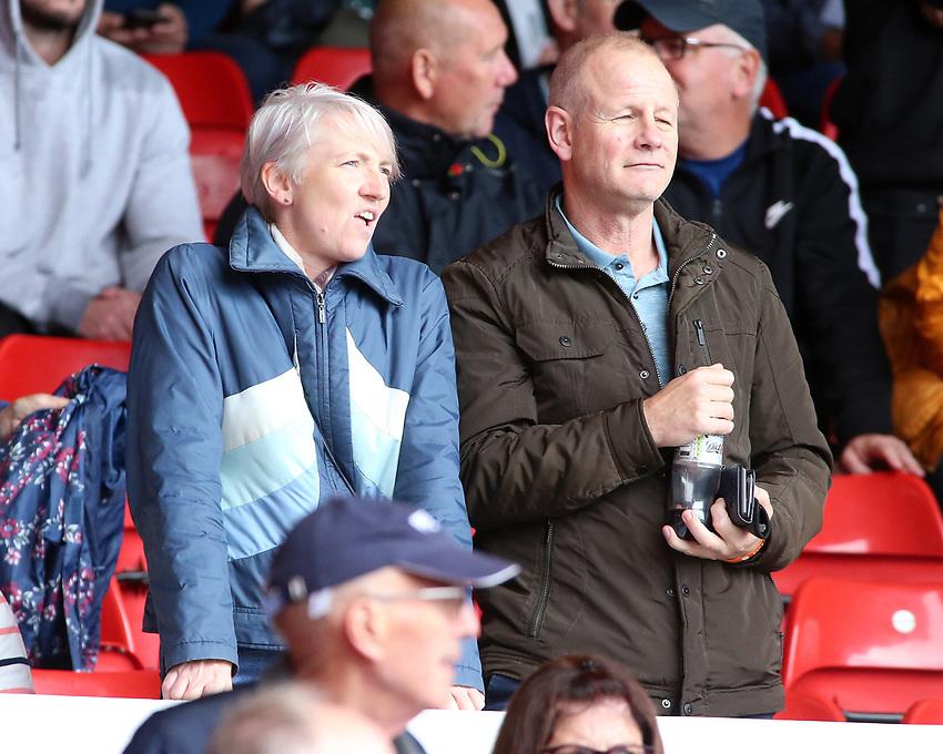 Preston North End fans enjoy the atmosphere inside The City Ground<br /> <br /> Photographer David Shipman/CameraSport<br /> <br /> The EFL Sky Bet Championship - Nottingham Forest v Preston North End - Saturday 31st August 2019 - The City Ground - Nottingham<br /> <br /> World Copyright © 2019 CameraSport. All rights reserved. 43 Linden Ave. Countesthorpe. Leicester. England. LE8 5PG - Tel: +44 (0) 116 277 4147 - admin@camerasport.com - www.camerasport.com