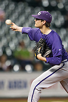 TCU Horned Frogs pitcher Preston Morrison #18 delivers a pitch to the plate during the NCAA baseball game against the Rice Owls on March 1, 2014 during the Houston College Classic at Minute Maid Park in Houston, Texas. Rice defeated TCU 1-0. (Andrew Woolley/Four Seam Images)