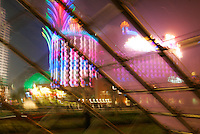 A view of the new 'Grand Lisboa' casino and the older 'Casino Lisboa', both run by former macau gaming monopoly holder Stanley Ho, Macau, China.