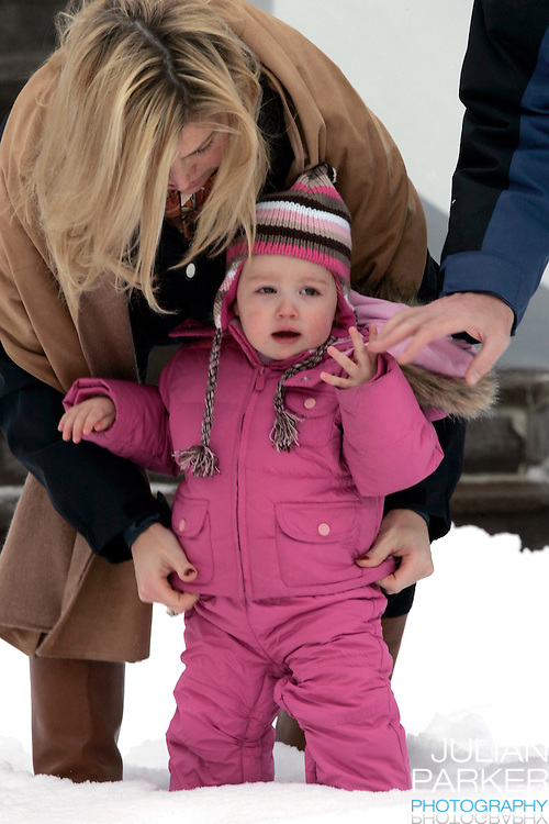 Crown Prince Willem-Alexander & Crown Princess Maxima of Holland, with daughters Princess Catharina-Amalia & Princess Alexia pose for photographs at the start of their annual skiing holiday in Lech, Austria..