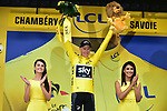 Race leader Chris Froome (GBR) Team Sky retains the Yellow Jersey at the end of Stage 9 of the 104th edition of the Tour de France 2017, running 181.5km from Nantua to Chambery, France. 9th July 2017.<br /> Picture: ASO/Pauline Ballet | Cyclefile<br /> <br /> <br /> All photos usage must carry mandatory copyright credit (&copy; Cyclefile | ASO/Pauline Ballet)