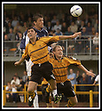 24/8/02         Copyright Pic : James Stewart                     .File Name : stewart-alloa v falkirk 07.FALKIRK'S KEVIN JAMES RISES ABOVE IAN LITTLE AND BROWN FREGUSON.....James Stewart Photo Agency, 19 Carronlea Drive, Falkirk. FK2 8DN      Vat Reg No. 607 6932 25.Office : +44 (0)1324 570906     .Mobile : + 44 (0)7721 416997.Fax     :  +44 (0)1324 570906.E-mail : jim@jspa.co.uk.If you require further information then contact Jim Stewart on any of the numbers above.........