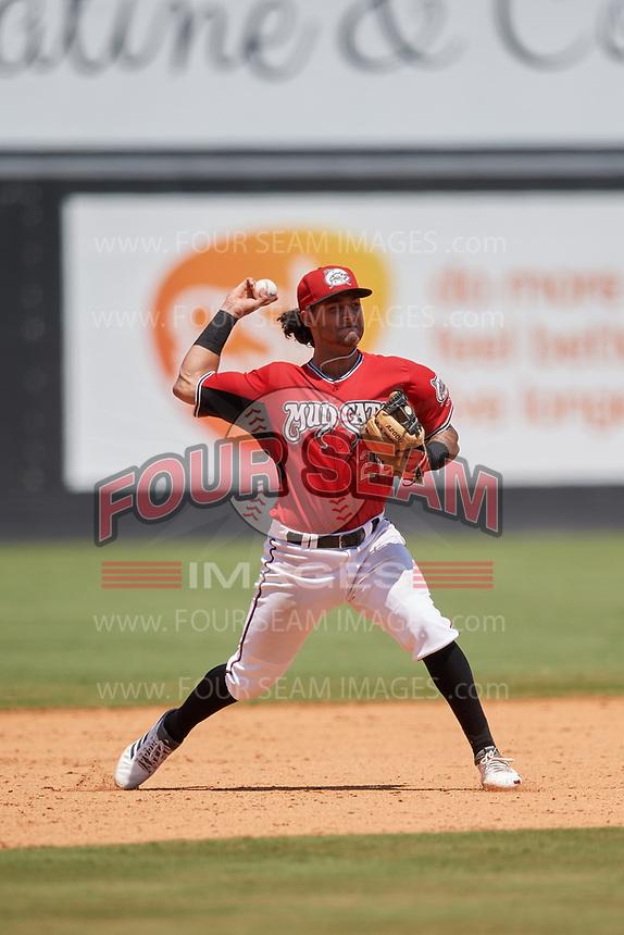 Carolina Mudcats third baseman Eddie Silva (28) throws to first base during a Carolina League game against the Winston-Salem Dash on August 14, 2019 at Five County Stadium in Zebulon, North Carolina.  Winston-Salem defeated Carolina 4-2.  (Mike Janes/Four Seam Images)