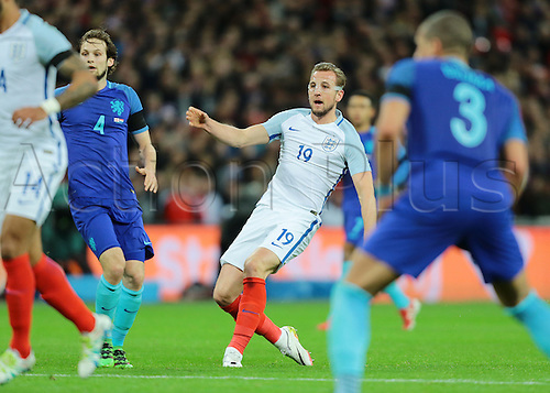 29.03.2016. Wembley Stadium, London, England.  International Football Friendly England versus Netherlands. England Forward Harry Kane watches his shot go inches wide of the Netherlands post