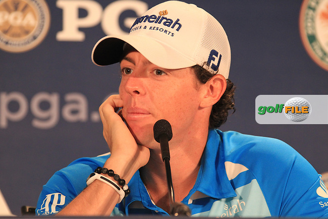 Rory McIlroy (NIR) in the interview room during Wednesday's practice day of the 2012 PGA Golf Championship at The Ocean Course, Kiawah Island, South Carolina, USA 7th August 2012 (Photo Eoin Clarke/www.golffile.ie)