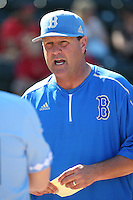 UCLA Bruins Head Coach John Savage (22) before a game against the North Carolina Tar Heels at Jackie Robinson Stadium on February 20, 2016 in Los Angeles, California. UCLA defeated North Carolina, 6-5. (Larry Goren/Four Seam Images)