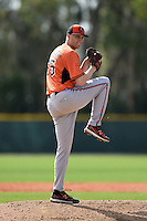 Pitcher Mitch Horacek (65) of the Baltimore Orioles organization during a minor league spring training camp day game on March 23, 2014 at Buck O'Neil Complex in Sarasota, Florida.  (Mike Janes/Four Seam Images)