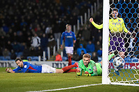 Ben Seymour of Exeter City right celebrates the second Exeter City goal during Portsmouth vs Exeter City, Leasing.com Trophy Football at Fratton Park on 18th February 2020