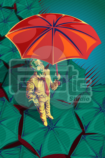 Illustrative image of businessman holding umbrella representing insurance