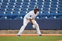 Tampa Yankees center fielder Jorge Mateo (14) leads off first base during a game against the Fort Myers Miracle on April 12, 2017 at George M. Steinbrenner Field in Tampa, Florida.  Tampa defeated Fort Myers 3-2.  (Mike Janes/Four Seam Images)