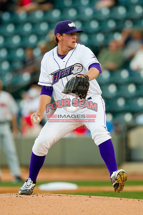 Winston-Salem Dash starting pitcher Chris Beck (33) in action against the Carolina Mudcats at BB&T Ballpark on April 13, 2013 in Winston-Salem, North Carolina.  The Dash defeated the Mudcats 4-1.  (Brian Westerholt/Four Seam Images)