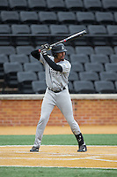 Jaylin Davis (21) of the Appalachian State Mountaineers at bat against the Wake Forest Demon Deacons at Wake Forest Baseball Park on February 13, 2015 in Winston-Salem, North Carolina.  The Mountaineers defeated the Demon Deacons 10-1.  (Brian Westerholt/Four Seam Images)